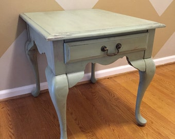Antique/weathered green / teal end table with drawer