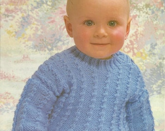 "PDF Emu Knitting Pattern #8698, 8Ply / DK, Sz 16-20"" Baby Sweater Jumper"