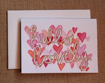 Hello Lovely  - Hearts Watercolour Card