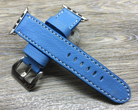 Apple Watch Band | Apple Watch Strap | Leather Watch Band | Leather Watch Strap | Sky Blue Colour Leather For Apple Watch 38mm & 42mm