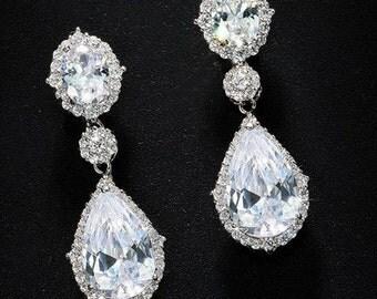 Wedding Tear Drop CZ Earrings Bridal Jewelry / Bridemaid Jewerly Cubic Zirconia Earrings