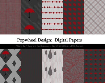 Rainy Day -- Digital Paper Pack 12x12 -- Gray and Red -- Printable -- Personal and Commercial Use