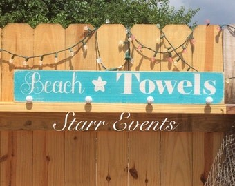 Pool signs. Beach towel sign. Pool decor. Towel holder. Rustic decor. Pool decorations. Swimming pool signs.