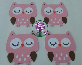 Owl Die Cuts, Set of 4 Pink and Brown Owls,  Pink Owl, Shower Decorations, Birthday Decorations, Cake Owls, owl centerpiece