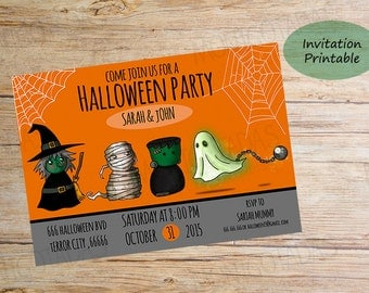Halloween Party Invitation / Personalized printable Digital Files /  Shipping 2-3 businnes Day