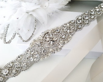 Beaded bridal sash crystal wedding belt sash, Style 159