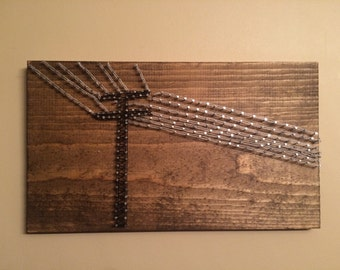 Telephone Pole Nail String Art