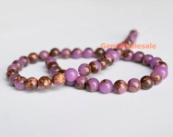 "15.5"" Purple Impression Jasper & Gold copper bornite round beads 6mm/8mm,Sea Sediment Imperial Jasper,Aqua Terra Jasper"
