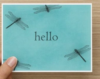 Note cards: Dragonfly hello notecards.  Personally designed.  Package of 10, 20, 30 or 40
