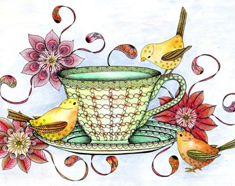 Three little birds and teacup art print. Cottage chic kitchen wall art in red and gold.