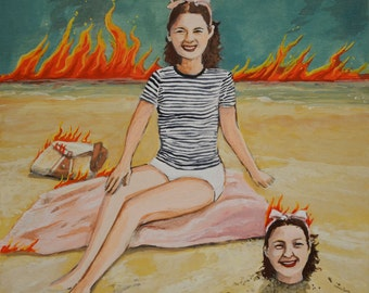 Twins at the Beach with flames  8x8 original acrylic painting on cradled wood panel quirky art surreal art