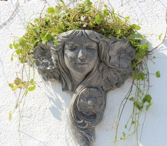 Stone wall planter art nouveau flower lady wall decor made in