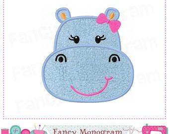 Hippo applique,Hippo embroidery,Hippo design,Hippo,Summer applique,Hippo head,Animal applique,Girl applique.-02
