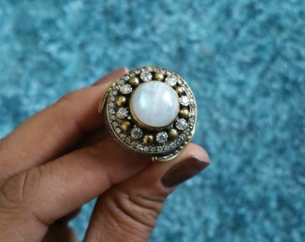 Moonstone chunky sterling ring size 7
