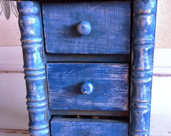 Miniature vintage chest of drawers blue with buttons bones & shells. 6x5 x3 approx.