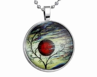 Red Moon Glowing Pendant Necklace Resin Dome Silver Chain