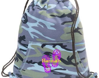 Sweatshirt material cinch bag with front pocket and embroidered spirit design - Sandal - Multiple Colors - Camouflage - BG614