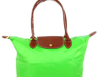 Personalized Lime Green Solid Leather Handle Medium Foldable Shopping Tote, FREE Monogram & FREE Shipping 810090L-LM
