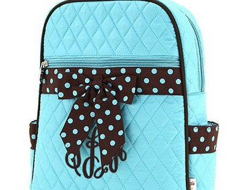 "Personalized Quilted Backpack with Bow - Personalized Large 15"" Turquoise with Brown Accents and Polka Dot Ribbon - QSD2732-TQBR"