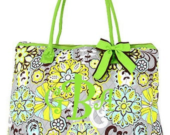 "Personalized Quilted Paisley Print Tote with Detachable Bow - Large 18"" Multicolor Tote Bag with Lime Green Accents - QBF2705-LM"