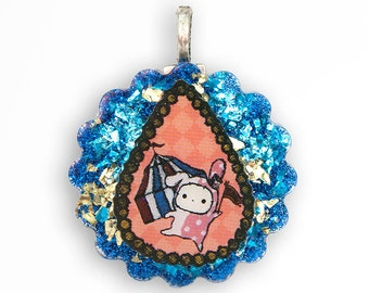 Sentimental Circus Shappo Bunny Kawaii Resin Pendant Charm Necklace - Round - Blue & Gold