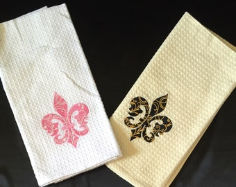 Fleur de lis waffle towel