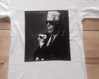 Karl Lagerfeld Fashion Designer Icon Fashion T-Shirt Low Cut  M