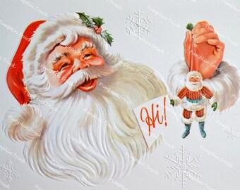 Vintage Christmas Card - Hi Santa and Ornament - Used
