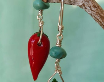 Glass Red Chile and Turquoise  Wire Wrapped Silver Earrings
