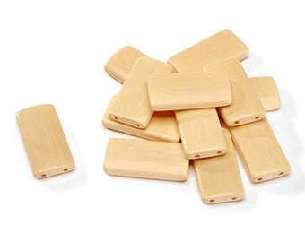 Blonde Bamboo Tile Pendants by Darice, Set of 12