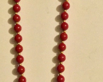 Vintage Beaded Necklace w/ Red & Gold Tone Beads