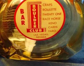 1950's Boulder Club Las Vegas Vintage Amber Ashtray  --