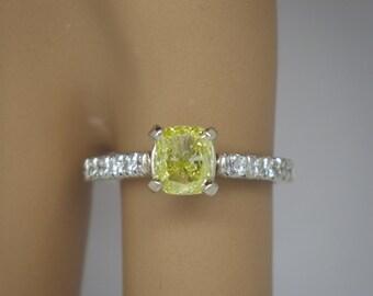 1.35 carat VS2 Canary Yellow Cushion Diamond Engagement Ring 14k White Gold