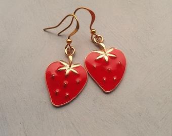 Strawberry Earrings,Summer Earrings,Fruit Jewelry,Novelty Earrings,Kitsch Earrings,Rockabilly Jewelry,Fruit Accessories,Retro Fruit Drops