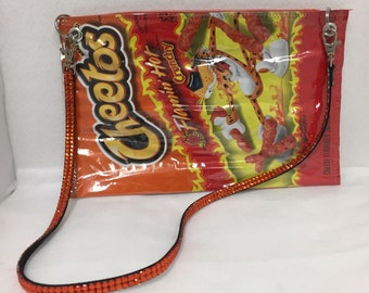 Recycled upcycled purse flaming hot cheetos vinyl bag food packaging potato chip bag candy wrapper snack pack
