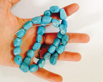 Natural turquoise nugget beads - strand of turquoise beads - blue turquoise - loose beads - high quality turquoise beads - large necklace