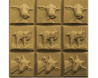 Clear Plastic Goats Three Soap Mold Tray  Milky Way. Makes (9) 4 oz. Bars In Sealed Bag With Melt & Pour Instructions MW188