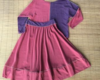Vintage 1980s Silk Albert Nipon Colorblock Skirt Set / Rust & Eggplant / Full Skirt / Bohemian