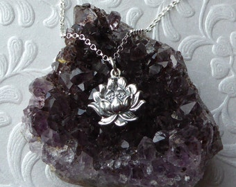 Lotus Necklace ~ Solid Sterling Silver ~ Lotus Charm Pendant