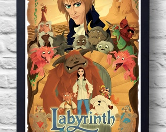 Labyrinth 1986- Movie Poster Print, film illustration art painting