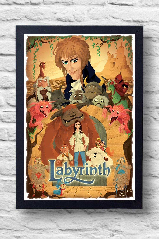 Labyrinth 1986 Movie Poster Print film illustration art Labyrinth 1986 Poster