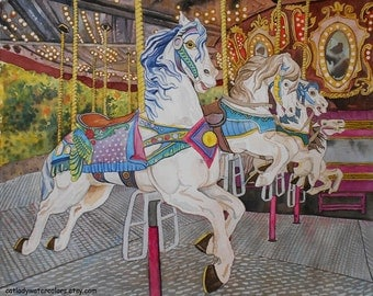 Water Color : Carousel Watercolor Print. White Horses. Carousel artwork. Kids Room Wall Art. Carnival picture. Carousel art. Watercolor art.