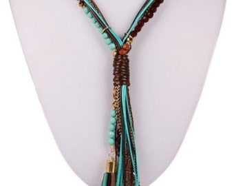 Long chain summer style, turquoise, gold, Brown * magical *.