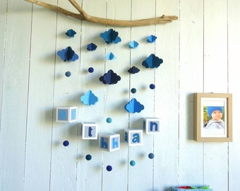 Mobile wall for child to personalize, driftwood felt and woven paper