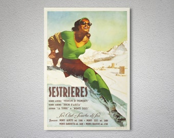 Sestrieres Italy Sci Club Vintage Travel Poster, Canvas Giclee Print / Christmas Gift