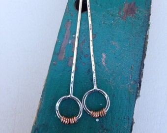 Mixed metal Sterling silver copper post long earrings