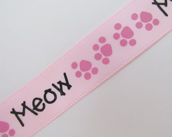 Pink Printed Grosgrain Ribbon Meow