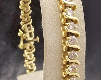 "Vintage Diamond ""S"" Bracelet 14K Solid Yellow GOLD*NOT Scrap 7.25in /15.7g"