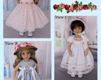 "PDF Empire Regency Smocked Dress Pattern for 13"" Effner Little Darling Dolls"