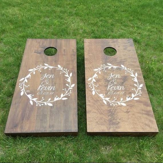 Custom Wedding Cornhole Boards Custom Wreath Logo